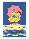 Two Chicks with Umbrella Poster