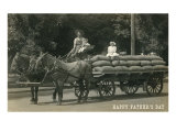 Father's Day, Farmer with Kids on Wagon Posters