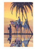 Arabs on Camels Along the Nile - Poster