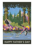 Dad Camping and Fishing Poster