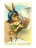 Rabbit in Goggles and Vintage Airplane Poster