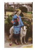 Woman with Roses and Borzoi Poster