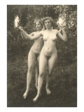Two Naked Women Dancing Outdoors Poster