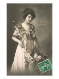 Woman in Elaborate Dress with Basket of Flowers Posters