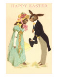 Well Dressed Easter Bunny Couple Posters
