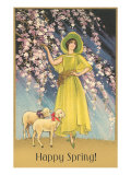 Happy Spring, Woman with Lambs Posters
