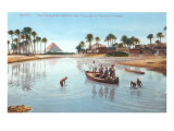 Village on Nile by Pyramids, Egypt Poster
