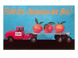 Florida Oranges Are Big, Three Oranges on Toy Flatbed Posters