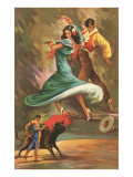 Flamenco Dancers and Bullfighter Poster