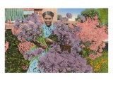 Black Woman with Agapanthus Poster