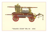 Black Joke Vintage Fire Wagon Print