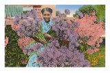 Black Woman with Agapanthus Posters