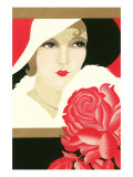 Serious Flapper with Rose Poster