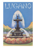 Fountain in Lugano Posters