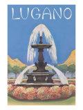 Fountain in Lugano Posters