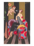 Flapper Sprayed by Perfume-Bearing Cherub Print