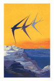 Three Swallows over the Sea Posters