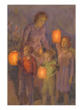 Children with Chinese Lanterns Poster