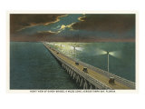 Moon over Gandy Bridge, Tampa, Florida Posters
