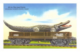 Giant Alligator on Rail Car, Myakka River State Park, Florida Posters