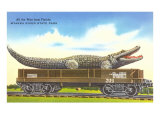 Giant Alligator on Rail Car, Myakka River State Park, Florida Print