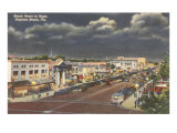 Night, Beach Street, Daytona Beach, Florida Print