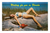 Waiting for you in Florida, Bathing Beauty Print
