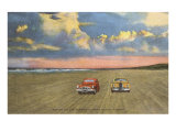 Cars on Sand, Daytona Beach, Florida Print