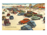Cars on Beach, Jacksonville, Florida Poster