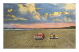 Cars on Sand, Daytona Beach, Florida Posters