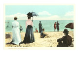 Early Beach Scene, Palm Beach, Florida Print