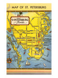 Map of St. Petersburg, Florida Posters
