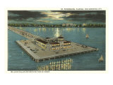Moon over Pier, St. Petersburg, Florida Poster