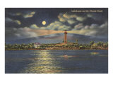 Moon over Lighthouse, Florida Posters