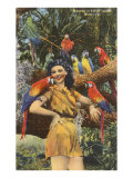 Lady with Macaws, Miami, Florida Print