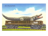 Giant Alligator on Flatbed, Florida Posters