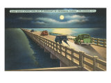 Moon over Gandy Bridge, St. Petersburg, Florida Poster