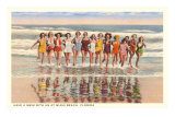 Ladies in Surf, Miami Beach, Florida Poster
