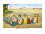 Ladies on Beach, Florida Print