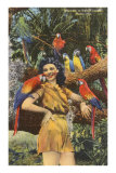 Lady with Macaws, Miami, Florida Posters
