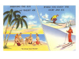 Spiaggia e palme vs. sci sulla neve Stampa