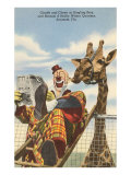 Giraffe and Clown, Sarasota, Florida Posters