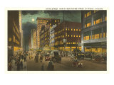 State Street at Night, Chicago, Illinois Posters