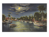 Moon over Ft. Lauderdale, Florida Posters