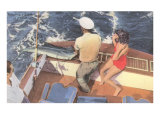 Fishing from Motorboat, Florida Posters