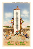 Happy Holidays from Florida, Bathing Beauties with Thermometer Posters