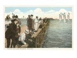Pier Fishing on Lake Michigan. Chicago, Illinois Posters