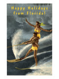 Happy Holidays from Florida, Water Skiers Poster