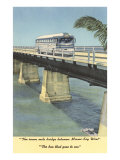 Bus on Bridge to Key West, Florida Poster