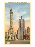Water Tower and Palmolive Building, Chicago, Illinois Posters